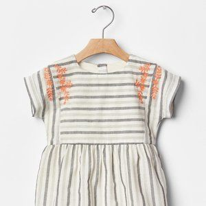 Gap Grey Striped Embroidered Dress